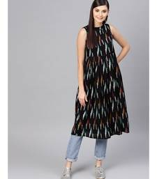 Black Ikat Box Pleat Sleeveless Dress