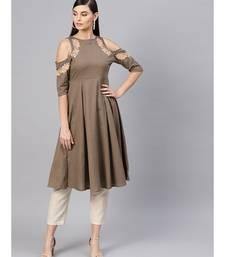 Brown Embroidered Cold Shoulder Dress