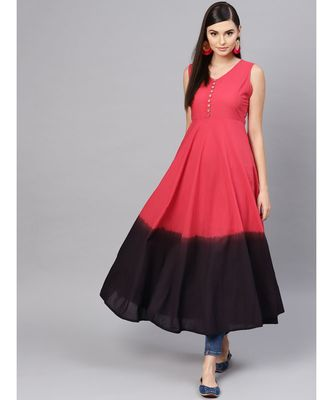 Red & Black Ombre Flared Maxi