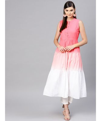 Pink & White Ombre Front Button Maxi