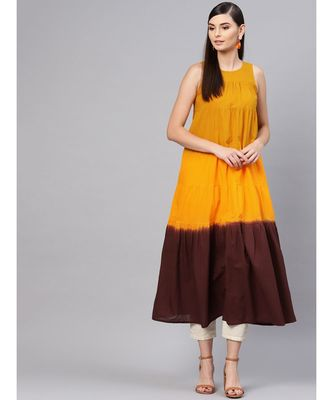 Mustard & Brown Ombre Tiered Maxi
