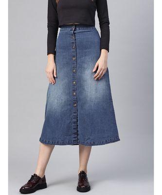Denim Blue Washed Long Buttoned Skirt