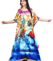 Women'S Digital Printed Multi Color Satin Silk Kaftan Kurta
