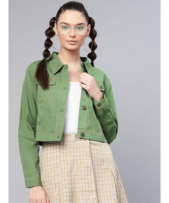 Olive Denim Crop Jacket