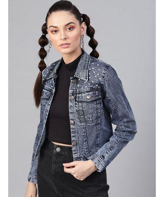 Blue Denim Pearl Studded Jacket