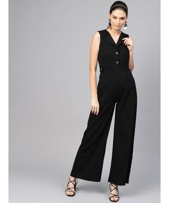 Black Collared Flare Leg Jumpsuit