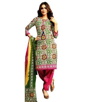 Green Embroidered Cotton Unstitched Salwar With Dupatta