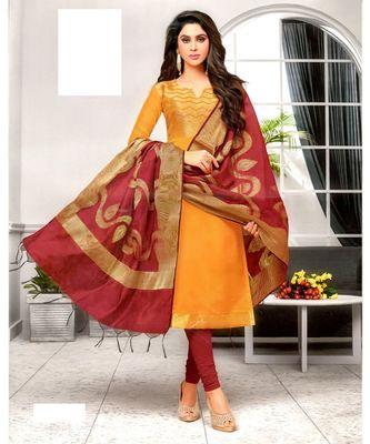 Orange Embroidered Banarasi Silk Unstitched Salwar With Dupatta