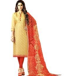 Gold Embroidered Banarasi Silk Unstitched Salwar With Dupatta