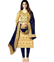 Beige Embroidered Banarasi Silk Unstitched Salwar With Dupatta