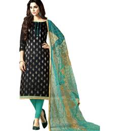 Black Embroidered Banarasi Silk Unstitched Salwar With Dupatta