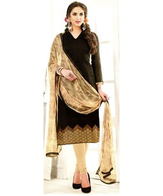 Black Embroidered Chanderi Silk Unstitched Salwar With Dupatta