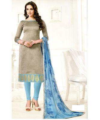 Grey Embroidered Chanderi Silk Unstitched Salwar With Dupatta