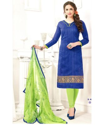 Blue Embroidered Chanderi Silk Unstitched Salwar With Dupatta