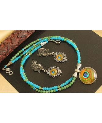 Gorgeous Blue Green Peacock Feather Design Agate Double Layer Necklace Set