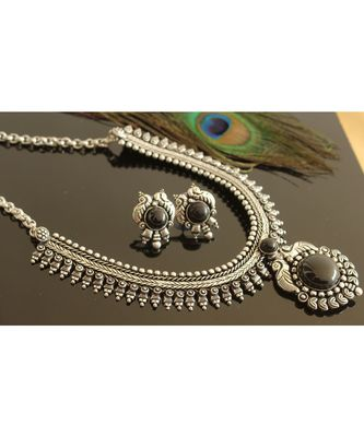 Stunning Silver Tone Black Peacock Necklace Set