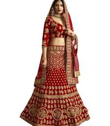 Red Embroidered Semi Stitched Lehenga, Choli And Dupatta Set