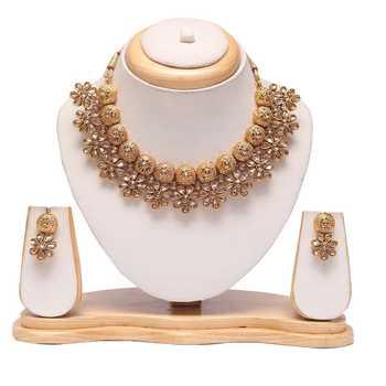 Floral motif antique choker necklace set