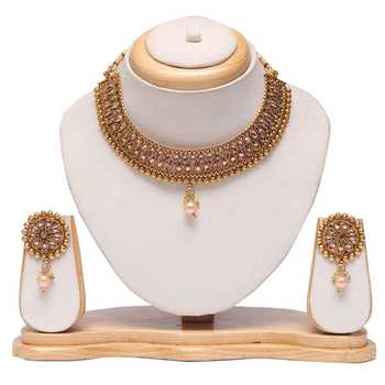 Gold tone copper base choker necklace set