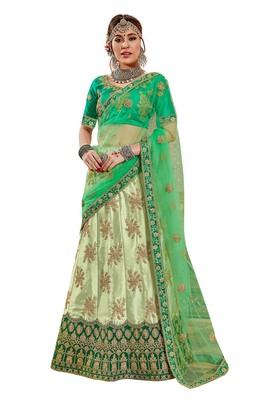 Light-green embroidered satin semi stitched lehenga