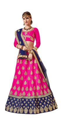 Pink Embroidered Silk Semi Stitched Lehenga