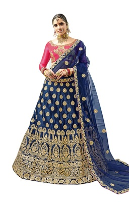 Blue embroidered satin semi stitched lehenga