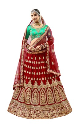 Maroon embroidered satin semi stitched lehenga