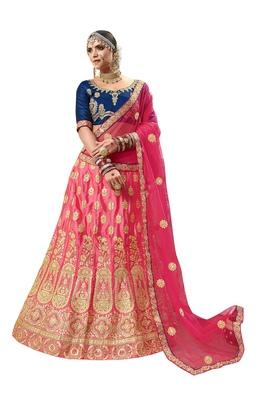 Pink embroidered satin semi stitched lehenga