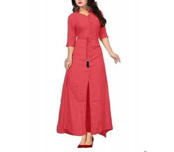 Red plain cotton long-kurtis