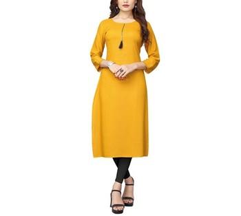 Mustard plain rayon long-kurtis