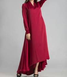 Maroon plain silk long-kurtis
