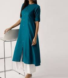 Teal plain cotton long-kurtis