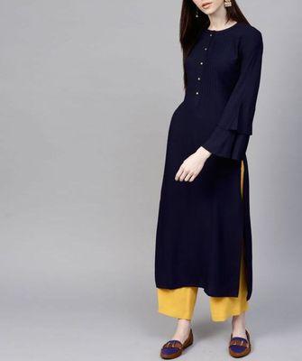 Blue plain cotton long-kurtis