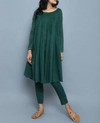 Dark-green plain cotton long-kurtis