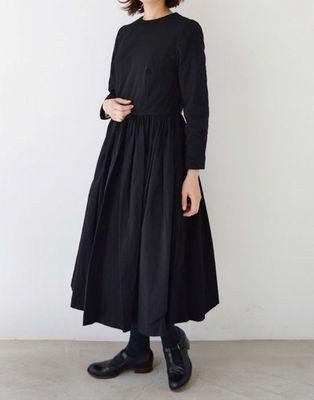 Black plain cotton long-kurtis