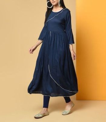 Royal-blue plain cotton long-kurtis