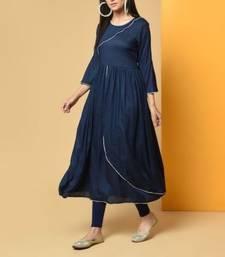 Royal-blue plain cotton long-kurtis