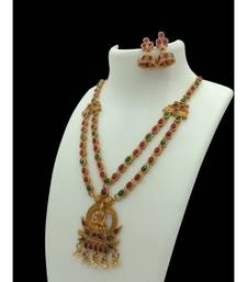 Gold Plated Red & Green Studded Laxmi Pendant Temple Necklace Sets