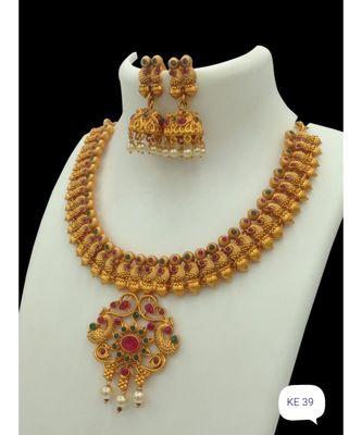 Gold Plated Stone Studded Designer Necklace Sets