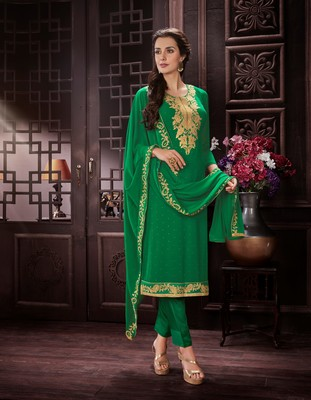 GREEN EMBROIDERED GEORGETTE CHURIDAR WITH DUPATTA SEMI STITCHED