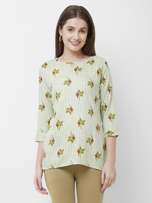 Green printed rayon cotton-tops