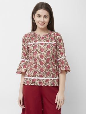 Multicolor printed cotton cotton-tops