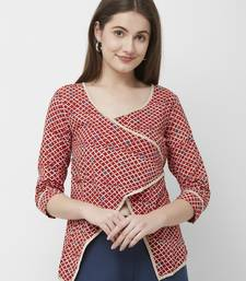 Red printed cotton party-tops