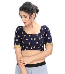 Navy blue velvet padded designer ready made saree blouse