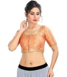 Peach brocade padded designer ready made saree blouse