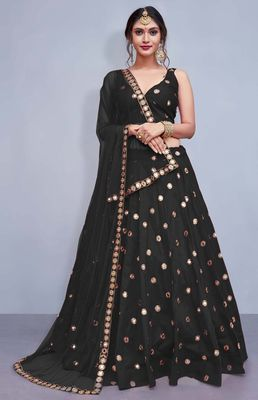 Black Embroidered Semi Stitched Lehenga, Choli and Dupatta Set