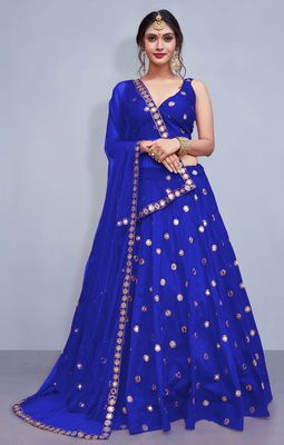 Blue Embroidered Semi Stitched Lehenga, Choli and Dupatta Set