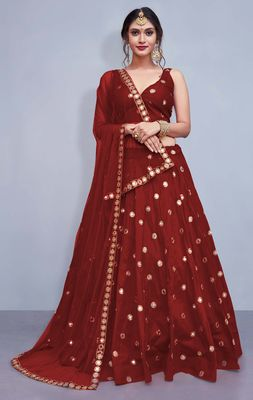Maroon Embroidered Semi Stitched Lehenga, Choli and Dupatta Set