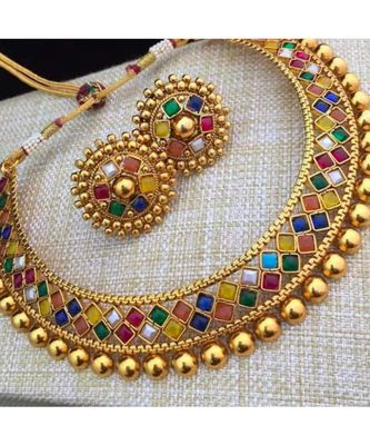 Multicolour Stone Studded Metallic Necklace Set