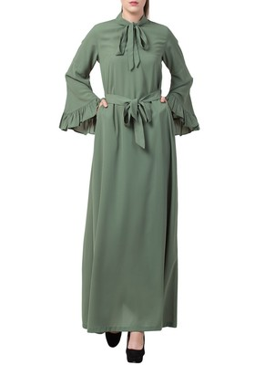 Green Dress Abaya With Collar Ribbon And Frilled Bell Sleeves